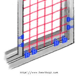 窗戶防護_半開窗,固定在外側軌道跟窗戶固定在一起,需使用窗鎖